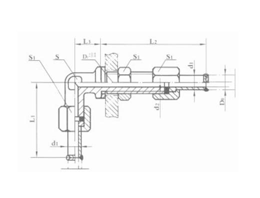 焊接式隔壁直角管接头 JB975-77