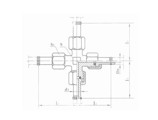 焊接式四通管接头体 JB991-77