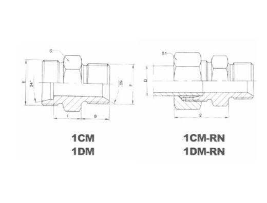 公制外螺纹60°锥密封或组合垫密封两用柱端